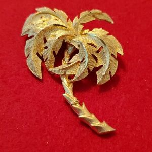 Vintage Washed gold Palm Tree Brooch pin